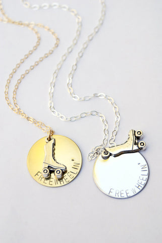 Freewheelin' Skate Necklace in Brass or Silver
