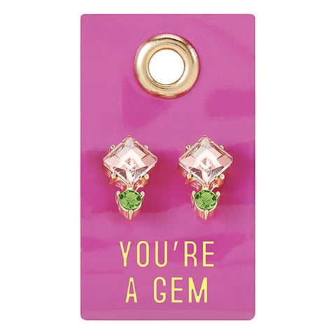 You're A Gem Gemstone Leather Tag Earrings