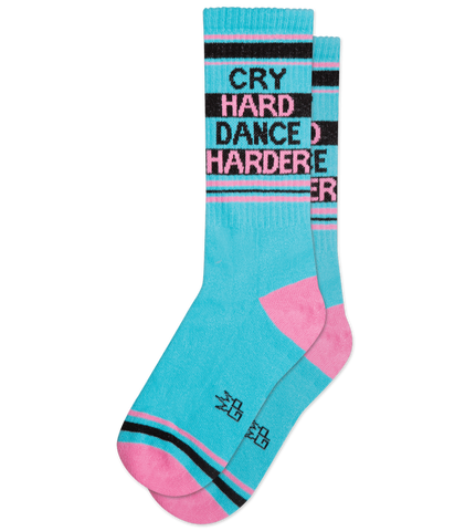 Cry Hard Dance Harder Ribbed Gym Socks in Pink and Blue