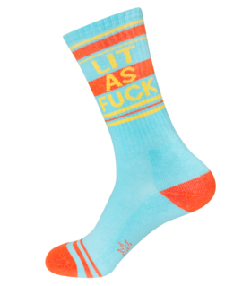 Lit as Fuck Ribbed Unisex Gym Socks in Blue, Orange and Yellow