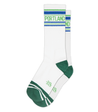Portland Ribbed Gym Sock in White, Green and Royal Blue