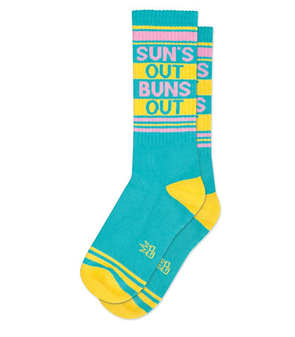 Sun's Out Buns Out Ribbed Gym Socks in Turquoise, Yellow and Pink