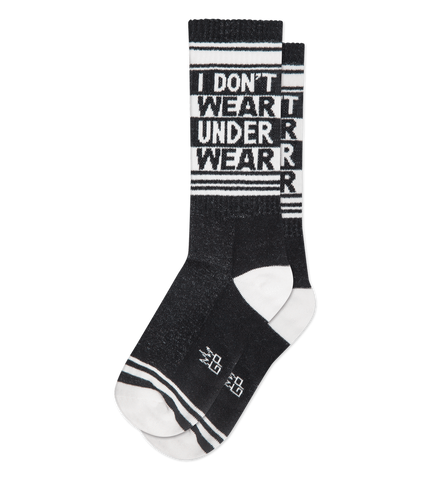I Don't Wear Underwear Ribbed Gym Socks in Black and White