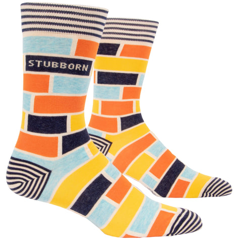 Stubborn Men's Crew Socks, Hipster/Nerdy/Geeky/Trendy, Colorful Funny Novelty Socks with Cool Design, Bold/Crazy/Unique Pattern Dress Socks