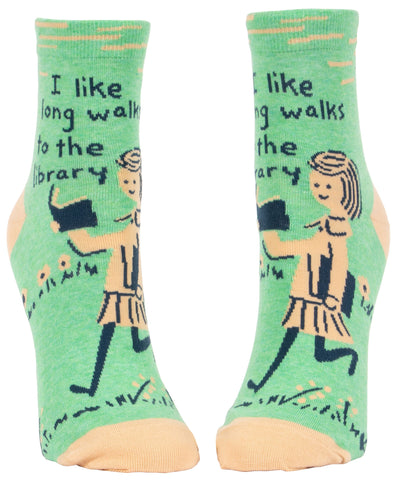 I Like Long Walks To The Library Women's Ankle Socks, Hipster/Nerdy/Geeky/Trendy, Funny Novelty Socks with Cool Design, Bold/Crazy/Unique Half Dress Socks