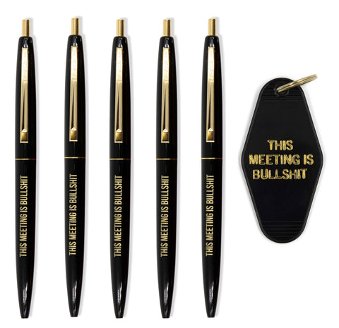 This Meeting is Bullshit Pen Set of 5 + Keychain Gift Set