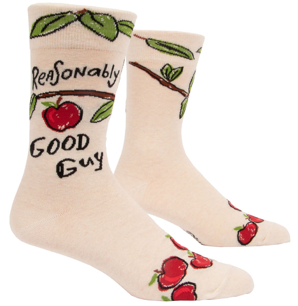 Reasonably Good Guy Men's Crew Socks, Hipster/Nerdy/Geeky/Trendy, Funny Novelty Socks with Cool Design, Bold/Crazy/Unique Quirky Dress Socks