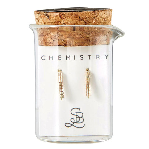 Gold Plated GOLD Chemistry Earrings | In a Glass Vial for Gift Giving