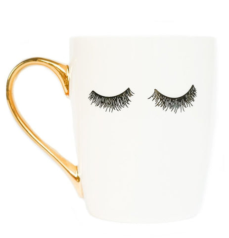 Eyelashes Gold Coffee Mug in Sweet Cream