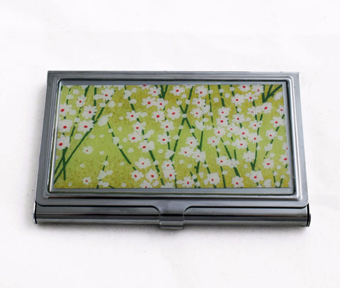 Green Meadow Card Case with White Flowers