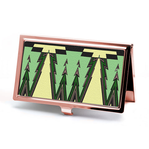 Green Envy Business Card Holder in Rose Gold