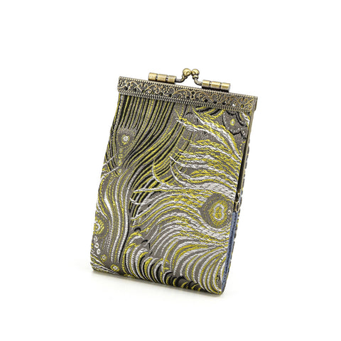 Credit Card Holder in Grey and Gold Peacock Brocade | 10 Slots | RFID Blocking