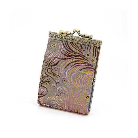 Card Holder in Grey and Pink Peacock Brocade | 10 Slots | RFID Blocking