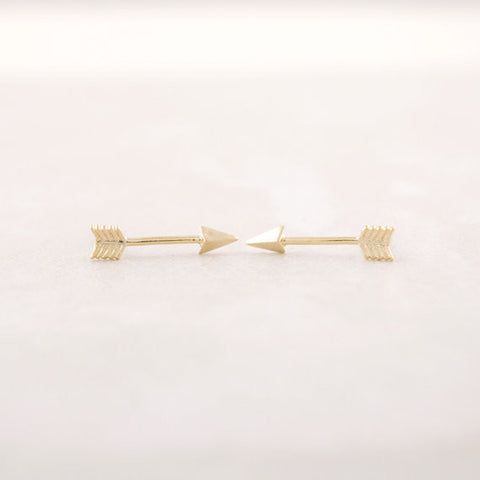 As the Arrow Flies Stud Earrings in Gold, Rose Gold, or Silver