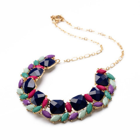 Bold Indigo Bauble Statement Necklace with Gold Chain