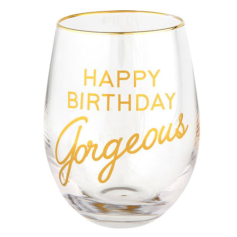 17 oz Happy Birthday Gorgeous Stemless Wine Glass Set of 4