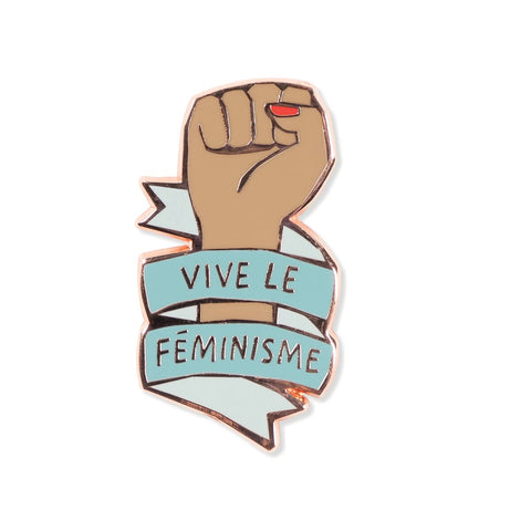 Vive Le Feminisme Enamel Pin with Ribbon