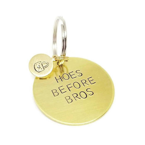Hoes Before Bros Brass Gold Key Ring