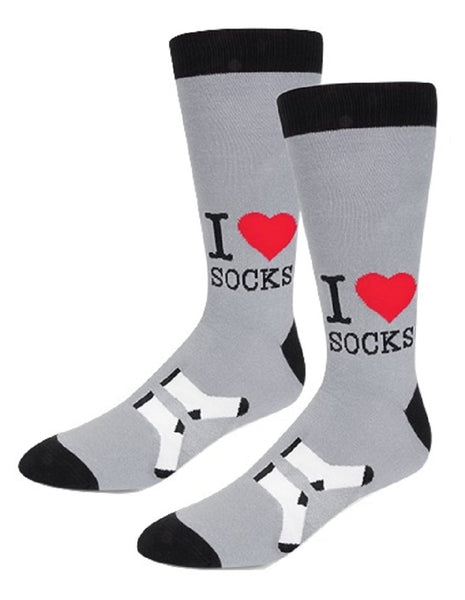 I Love Socks Men's Socks with Heart in Gray and Black