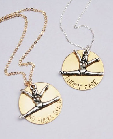 I Don't Care Necklace in Brass and Silver