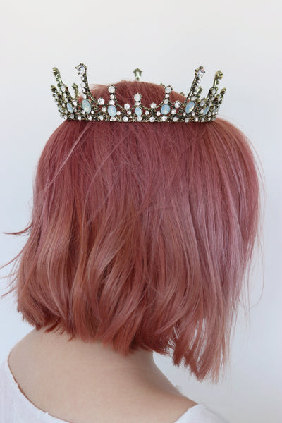 Moonlight Ice Queen Crown Tiara in Champagne Gold and Opal