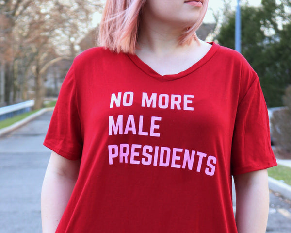 No More Male Presidents V-Neck Pocket Dress in Wine Red (sizes S through 3X)