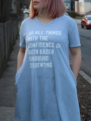 Do All Things With the Confidence of Ruth Bader Ginsburg Dissenting V-Neck Pocket Dress in Light Heather Gray (sizes S through 3X)