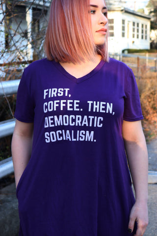 First, Coffee Then Democratic Socialism V-Neck Pocket Dress in Purple (sizes S through 3X)