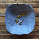 Felt Squared Bowl - Unisex Nightstand or Desk Catch-All