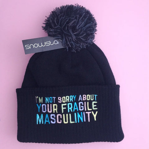 I'm Not Sorry About Your Fragile Masculinity Beanie Bobble Winter Hat in Black and Pastels