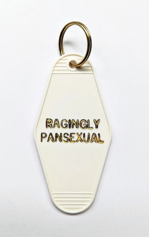 Ragingly Pansexual Motel Keychain in White