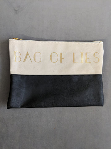 Bag Of Lies Makeup Pouch Bag in Black and White