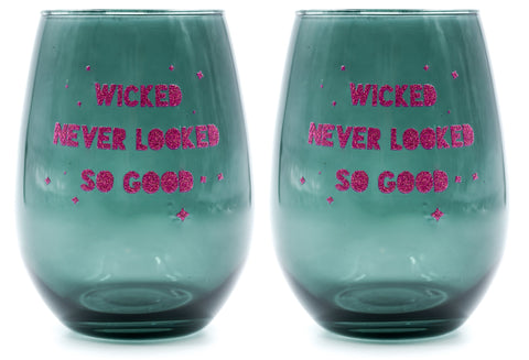 Wicked Never Looked So Good Black Witchy Stemless Wine Glass | 20 Oz | Set of 2