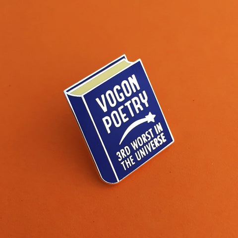 Vogon Poetry 3rd Worst in the Universe Enamel Pin in Blue