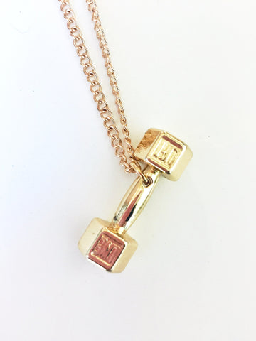 LIVE / LIFT Gold Dumbbell Pendant Necklace