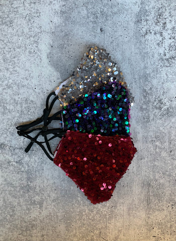 Sequined Face Mask with Filter Pocket (3 Color Options)