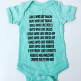 Robot Gender Roles Feminist Baby Bodysuit in Chill Blue