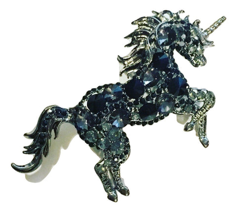 Black Jeweled Unicorn Brooch