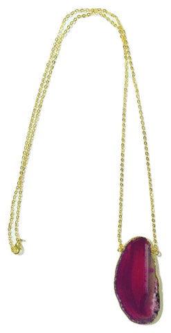 Gold Plated Agate Slice Necklace in Hot Pink