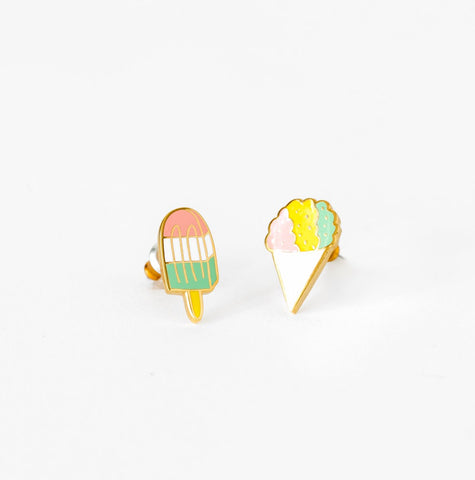 Sno Cone and Popsicle Earrings in Glass Vial