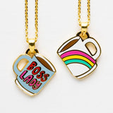 Boss Lady Rainbow Mug Double Sided Pendant | Reversible | 18-Karat Gold Dipped | In a Glass Gift Vial