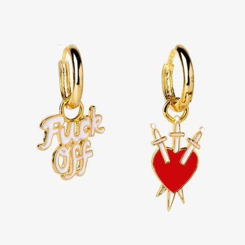Fuck Off & Heart Daggers Mismatched Hoop Earrings | Cloisonné with 22 Karat Gold | In a Glass Gift Vial