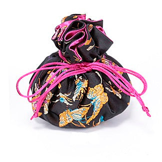 Travel Jewelry Pouch in Black and Butterfly | Fully Lined | 8 Interior Pockets