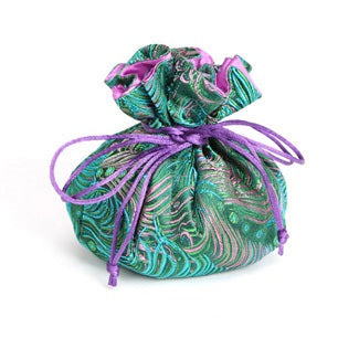 Travel Jewelry Pouch in Green and Pink Peacock | Fully Lined | 8 Interior Pockets