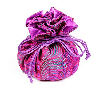 Travel Jewelry Pouch in Purple and Blue Peacock | Fully Lined | 8 Interior Pockets