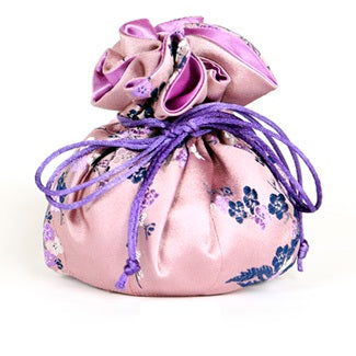 Travel Jewelry Pouch in Cherry Blossom Mauve | Fully Lined | 8 Interior Pockets