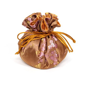 Travel Jewelry Pouch in Cherry Blossom Antique Gold | Fully Lined | 8 Interior Pockets