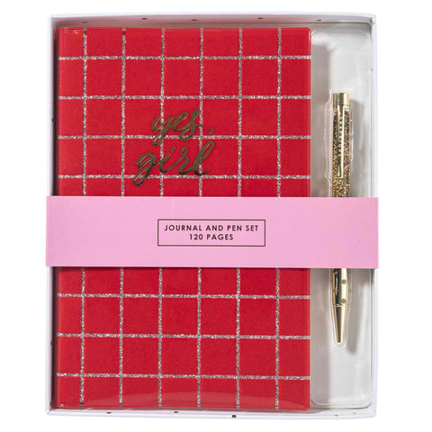 Yes, Girl Red Grid Journal and Pen Set