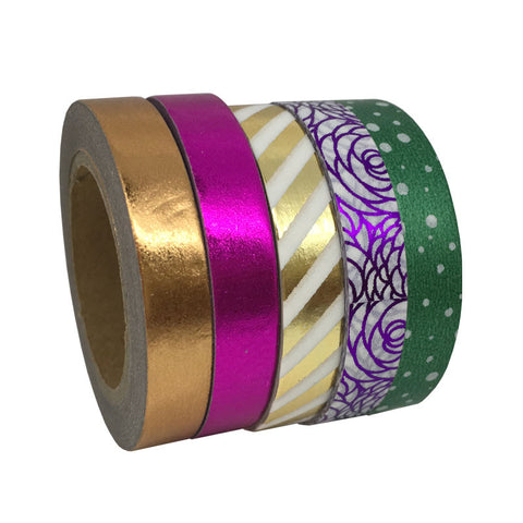 Set of 5 Thin Metallic Washi Tapes in Shiny Rose Gold, Gold, Fuchsia, Green and Purple