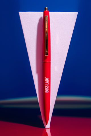 Boss Lady Pen in Cherry Red with Gold Accents